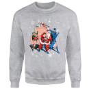 DC Comics Originals Batman And Robin Santa Claus Grey Christmas Sweatshirt