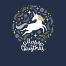 Unicorn Christmas T-Shirt - Navy