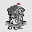Star Wars Christmas Happy Holidays Droids Grey T-Shirt