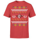 Star Wars Christmas Yoda Face Sabre Knit Red T-Shirt