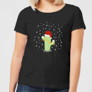 Cactus Santa Hat Women's T-Shirt - Black