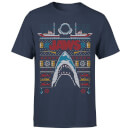Jaws Fairisle Men's Christmas T-Shirt - Navy