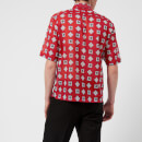 Maison Margiela Men's Printed Muslin Short Sleeve Shirt - Red Print