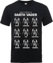 Star Wars Many Faces Of Darth Vader T-Shirt - Black
