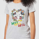 Disney Mickey Mouse Hippie Love Women's T-Shirt - Grey