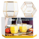 Geo Glass Tumblers - Gold (Set of 2)