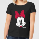 Disney Mickey Mouse Minnie Face Women's T-Shirt - Black