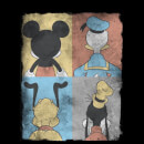 Disney Mickey Mouse Donald Duck Mickey Mouse Pluto Goofy Tiles Women's T-Shirt - Black