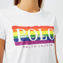Polo Ralph Lauren Women's Rainbow Printed Logo T-Shirt - White