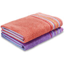 Catherine Lansfield Rainbow Pair Beach Towels - Coral