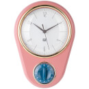 Present Time Retro Wall Clock with Kitchen Timer - Pink