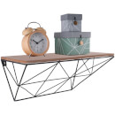 Present Time Wooden Shelf with Metal Raster - Black