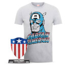 Marvel Captain America Men's T-Shirt and Shield Bundle