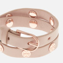 Tory Burch Women's Double Wrap Logo Stud Bracelet - Light Oak/Rose Gold