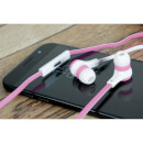 AV: Link Rubberised Tangle Free Cable Earphones with Mic - White/Pink