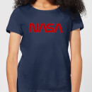 NASA Worm Rot Logotype Damen T-Shirt - Navy Blau