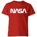 NASA Worm White Logotype Kids' T-Shirt - Red