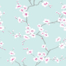 Fresco Duck Egg/Pink Apple Blossom Floral Wallpaper