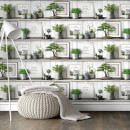 Superfresco Easy White/Green Etagere Fuji Wallpaper