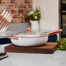 Tower Linear 28cm Saute Pan - White/Rose Gold