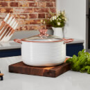 Tower Linear 24cm Casserole Dish - White/Rose Gold