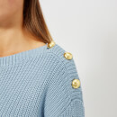 MICHAEL MICHAEL KORS Women's Boatneck Button Sweater - Blue
