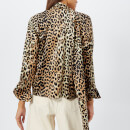 Ganni Women's Calla Silk Top - Leopard