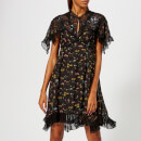 Coach 1941 Women's Forest Floral Printed Babydoll Dress - Black