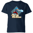 Nintendo Super Mario Mario Merry Christmas Snowball Kid's T-Shirt - Navy