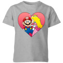 Nintendo Super Mario Peach Kiss Kid's T-Shirt - Grey