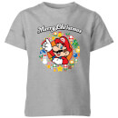 Nintendo Super Mario Mario Merry Christmas Wreath Kid's T-Shirt - Grey