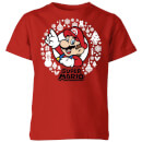 Nintendo Super Mario White Wreath Kid's Christmas T-Shirt - Red