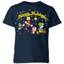 Nintendo Super Mario Good Guys Happy Holidays Kid's Christmas T-Shirt - Navy
