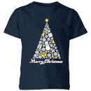 Nintendo Super Mario White Christmas Merry Christmas Kid's T-Shirt - Navy