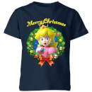 Nintendo Super Mario Peach Merry Christmas Kid's T-Shirt - Navy