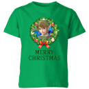 Nintendo The Legend Of Zelda Merry Christmas Wreath Kid's T-Shirt - Kelly Green