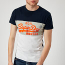 Superdry Men's Vintage Logo Panel T-Shirt - Optic/Silver Birds Eye Grey/Classic Blue