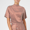 Diane von Furstenberg Women's Raglan High Neck Blouse - Baker Dot Small Sienna