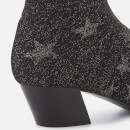 Ash Women's Cosmic Star Knitted Heeled Ankle Boots - Black/Silver
