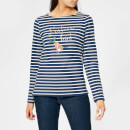 Joules Women's Harbour Print Festive Bird Jersey Top - French Navy