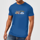 The Flintstones Family Car Distressed Men's T-Shirt - Royal Blue