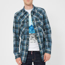 Dsquared2 Men's Western Fit Check Shirt - Blue/Green Check