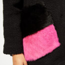 Anne Vest Women's Pine Knit Cardigan with Fur Pockets - Black with Black/Pink Pockets