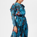 Preen By Thornton Bregazzi Women's Satin Devoré Stephanie Dress - Blue Painted Flower