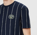 Lacoste Men's Vertical Stripe/Patch Logo T-Shirt - Navy/White
