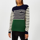 JW Anderson Women's Colour Block Logo Patch Mariniere Jumper - Emerald
