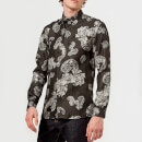 Versace Collection Men's Patterned Long Sleeve Shirt - Grigio