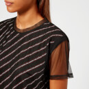 Karl Lagerfeld Women's Karl Stripe Double Layer T-Shirt - Black