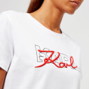 Karl Lagerfeld Women's Double Logo T-Shirt - White