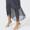 RIXO Women's Leandra Midi Skirt with Dropped Hem - Blue